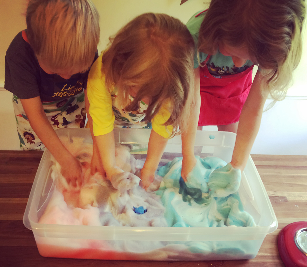 Soapy Sea Foam Science with kids for the Mama Village