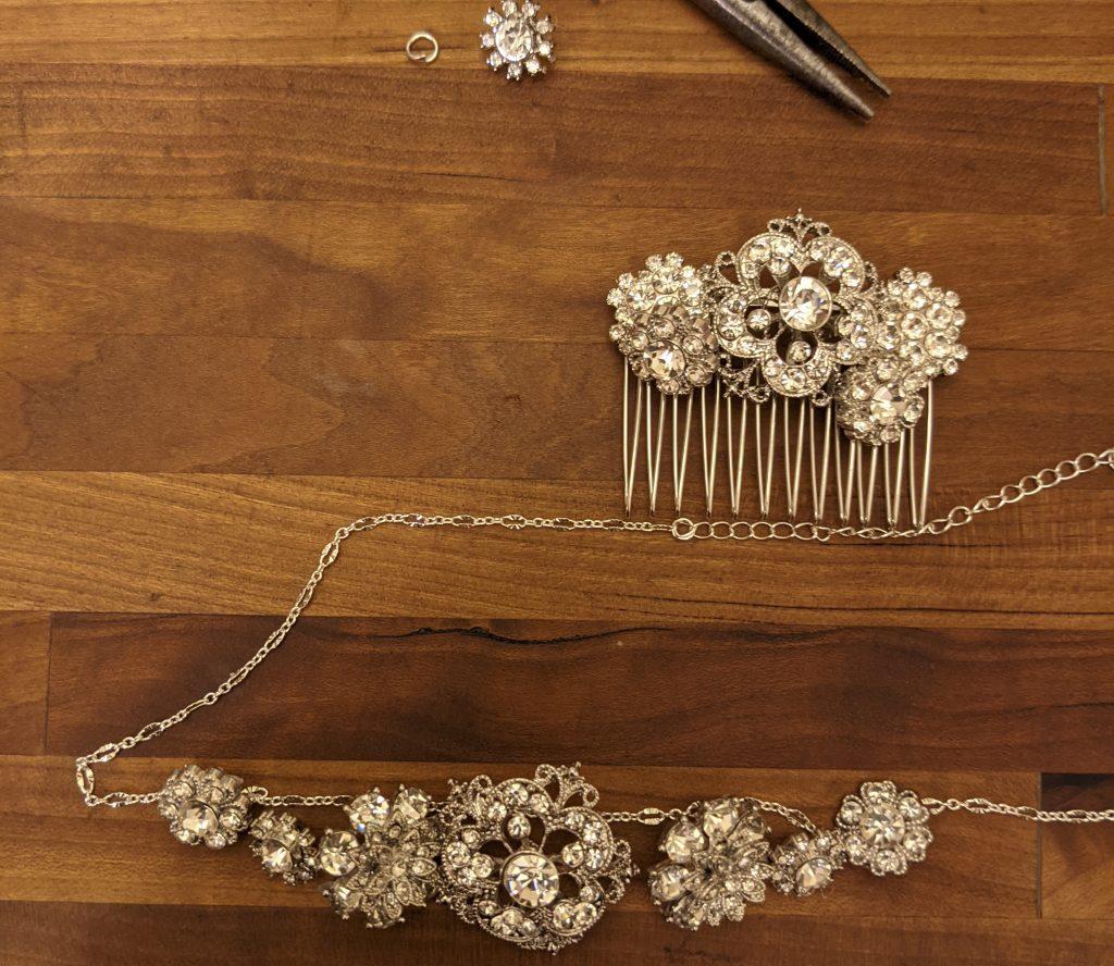 Regency Era DIY necklace and hair comb. themamavillage.com
